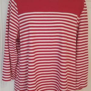 Kim Rogers Red & White 3/4 Sleeve Top